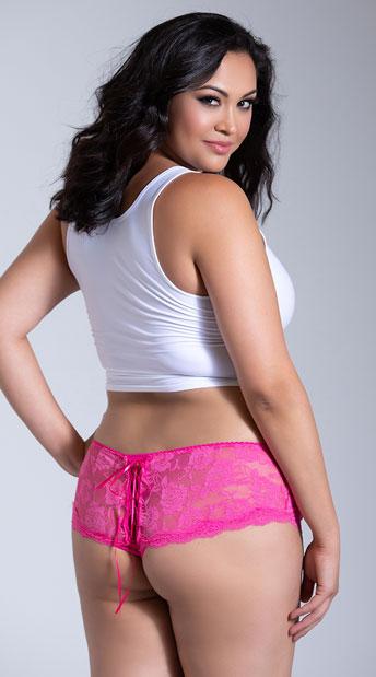 Plus Size Stretch Lace Open Front Boyshort, - Hot Pink