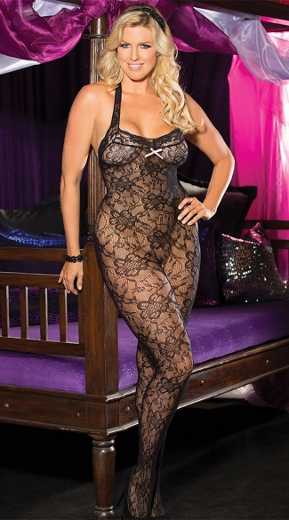 Plus Size Lace Halter Bodystocking - Black