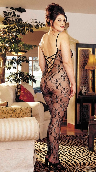 Plus Size Stretch Lace Bodystocking - Black
