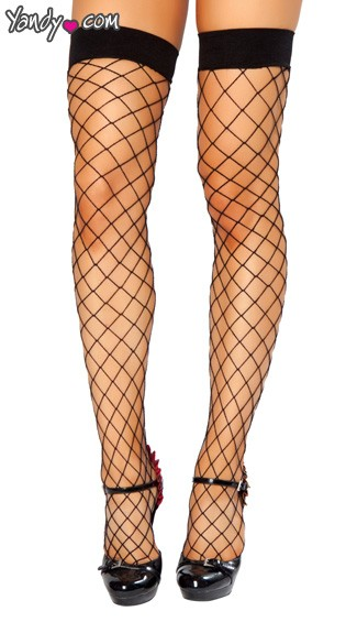 Thigh High Open Fishnet Stocking - Black