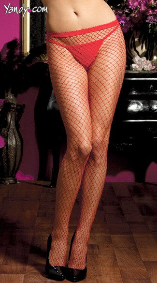 Diamond Fishnet Pantyhose - Red