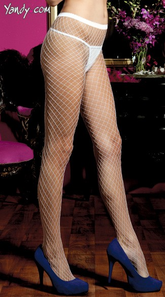 Diamond Fishnet Pantyhose - White