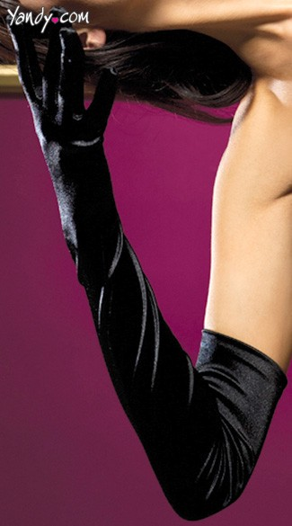 Satin Opera Length Gloves - Black