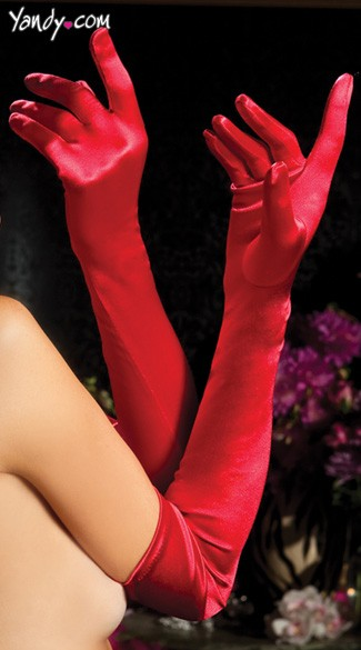 Satin Opera Length Gloves - Red