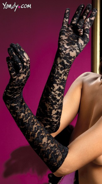 Lace Elbow Length Gloves - Black
