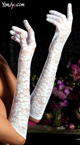 Lace Elbow Length Gloves - White