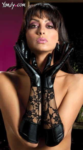 Lace And Lame Elbow Length Gloves - Black