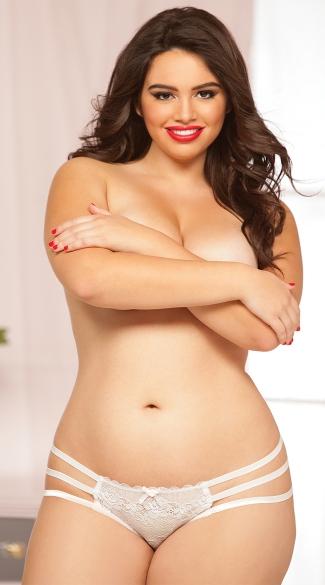 Plus Size Sexy Strappy Crotchless Panty - White