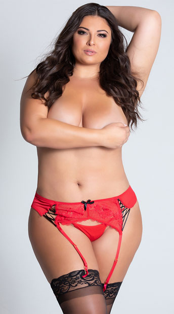 Plus Size Radiance Garter Belt - Red