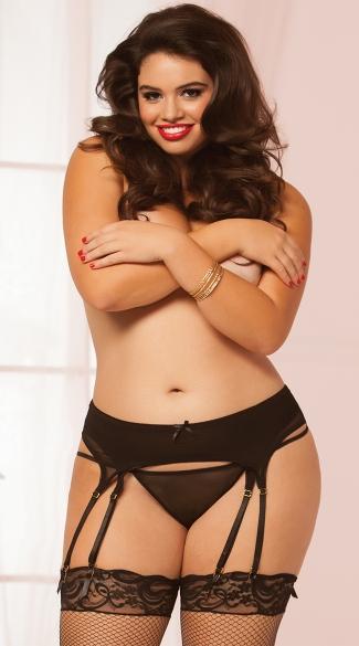 Plus Size Seductive Strappy Garter Belt - Black