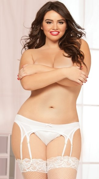 Plus Size Seductive Strappy Garter Belt - White