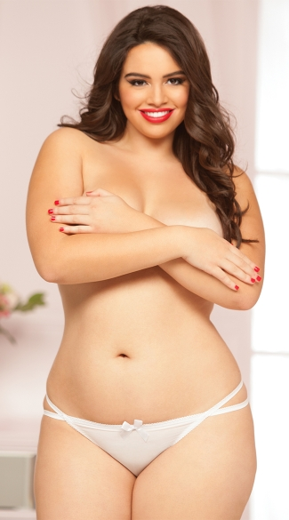 Plus Size Dainty Thong - White