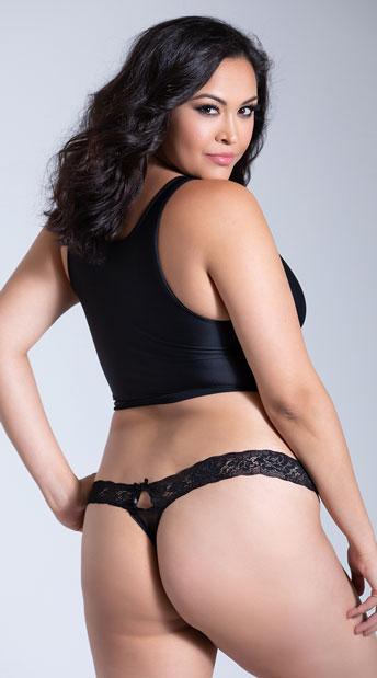 Plus Size Seductive Thong - Black