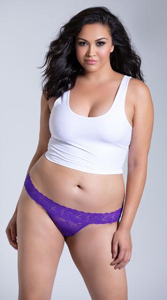 Plus Size Seductive Thong - Purple
