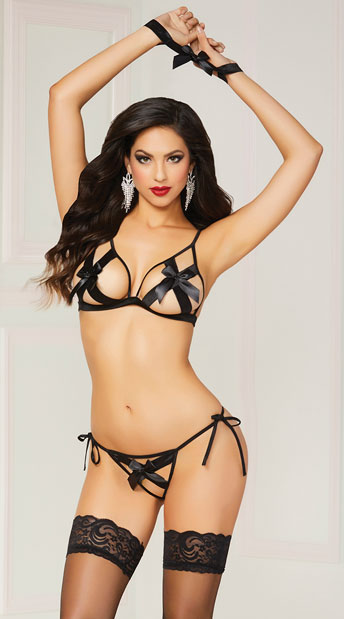 Bow Statement Bra Set - Black