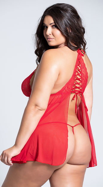 Plus Size Red Flyaway Lace Babydoll Set - Red