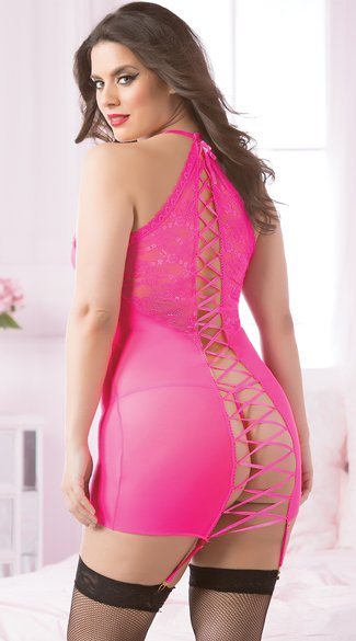 Plus Size Hot Pink Lace-Up Chemise Set, Plus Size Pink Chemise Set, Plus Size Lace-Up Chemise