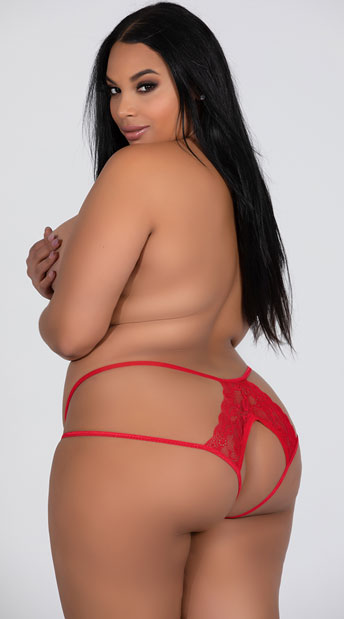 Plus Size Double Strapped Open Back Panty - Red