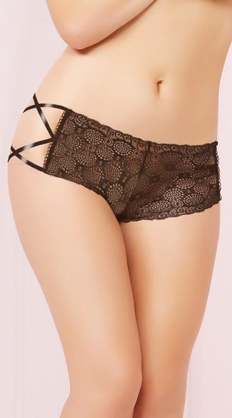 Geo Lace Criss-Cross Boyshort Panty - Black