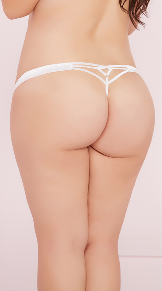 Plus Size Strappy Lace Thong Panty - as shown