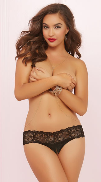 Crotchless Crochet Lace Thong Panty - Black