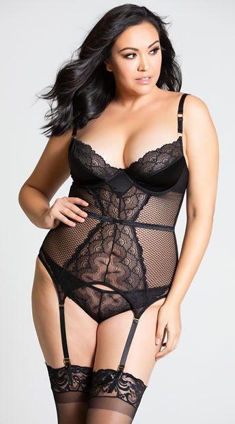 26c7078ee8e1 Plus Size Dreamy Net and Lace Bustier Set, Plus Size Black Bustier ...