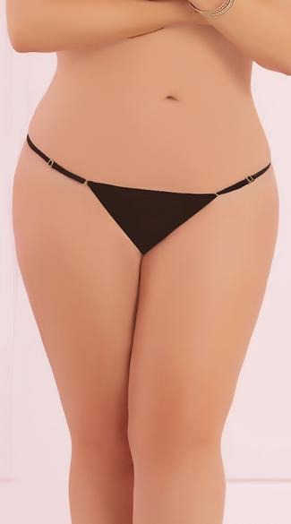 Plus Size Adjustable Mesh Thong - Black