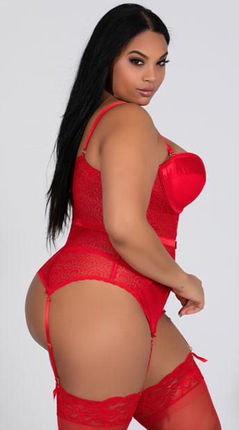 Plus Size Pleasure Principle Bustier Set - Red