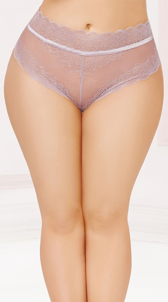 Plus Size Laced Up High Waisted Panty - Mauve