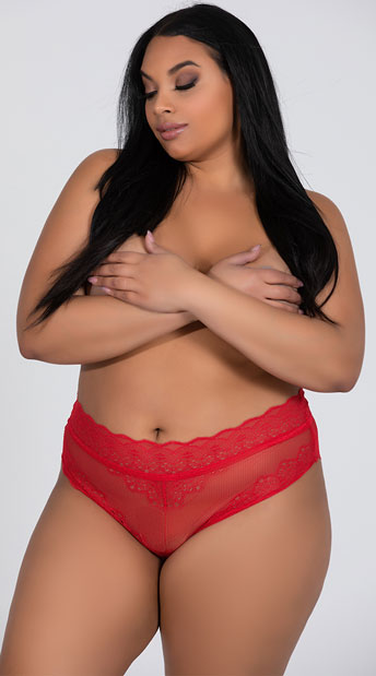 3dcb72e1190 Plus Size Laced Up High Waisted Panty - Red ...