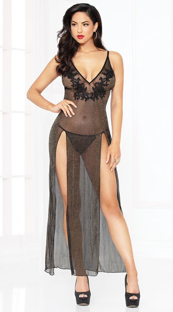 Sassy Shimmer Lingerie Gown Set - Black