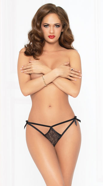 Tie Me In A Bow Panty - Black