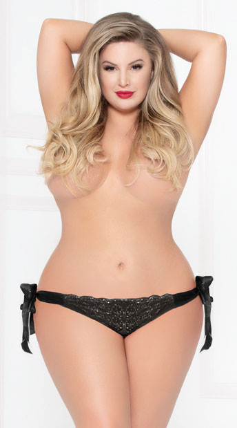 Plus Size All Tied Up Lace Panty - Black