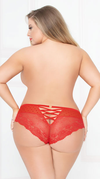Plus Size Sheer Dot Cheeky Panty - Red