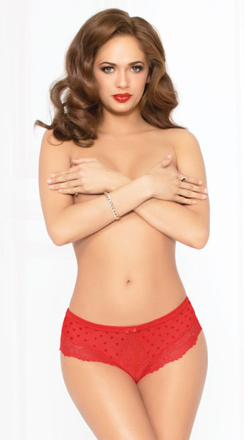 Sheer Dot Cheeky Panty - Red