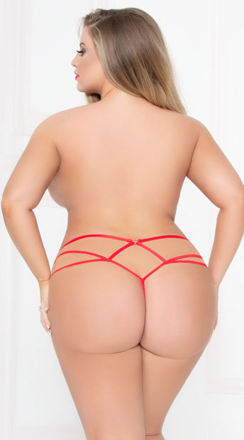 Plus Size Strappy Dotted Lace Panty - Red