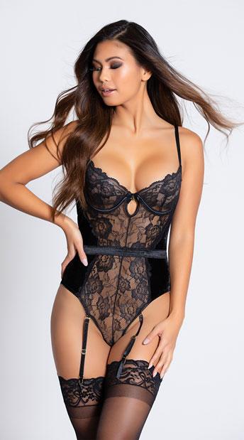 Romantic Lace Teddy Set - Black