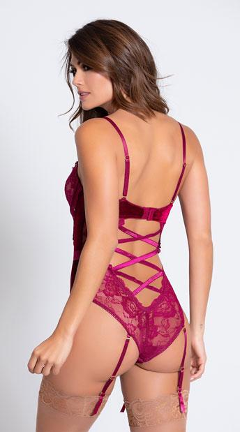 Romantic Lace Teddy Set - Wine