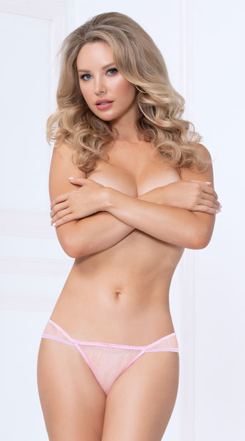 Choose Me Netted Cheeky Panty - Blush
