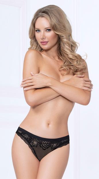 Fancy Flirt Thong Panty - Black
