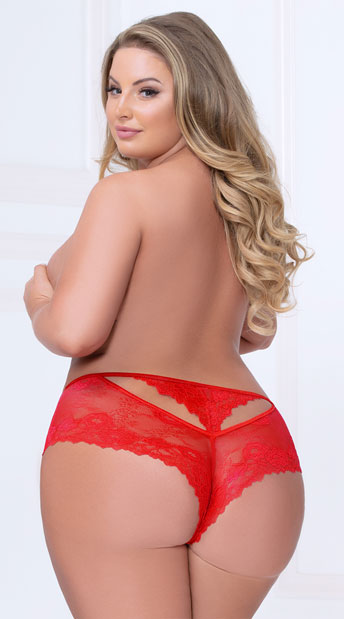 Plus Size Dreamy Days Cut-Out Panty - Red