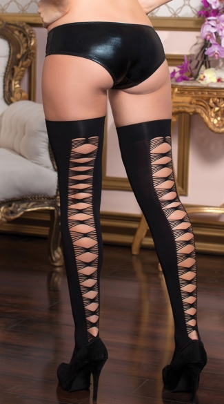 Criss Cross Thigh High Stockings, Opaque Thigh Highs ...