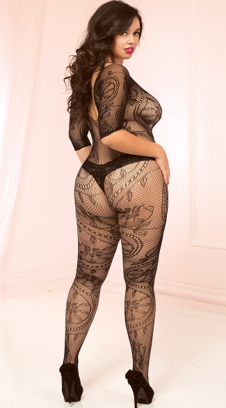 Plus Size Seductive Lace Bodystocking - Black