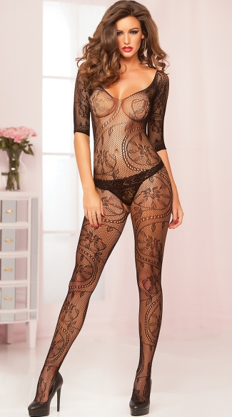 Swirl and Floral Lace Crotchless Bodystocking - Black