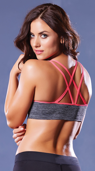 Strappy Contrast Push-Up Sports Bra, Push-Up Sports Bra, Contrast Sports Bra