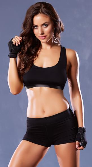 Lace-Up Microfiber Sports Bra - Black