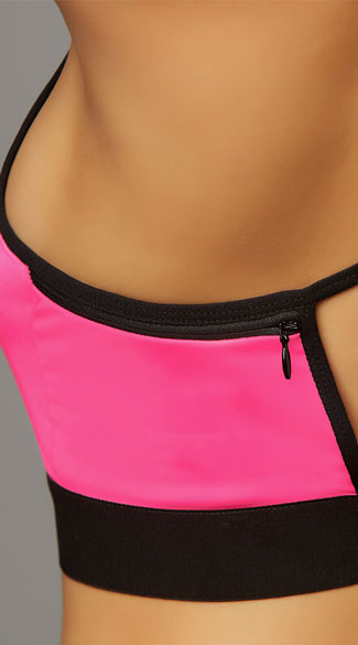 Stow and Go Hot Pink Sports Bra - Hot Pink