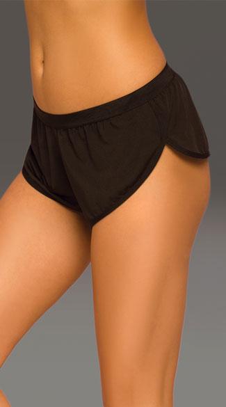 Athletic Mesh Dolphin Shorts - Black