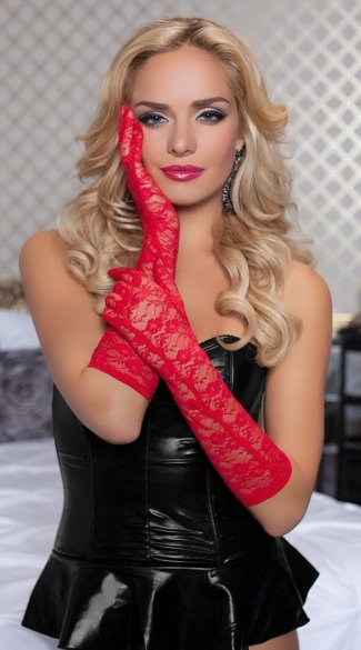 Lace Elbow Length Gloves - Red