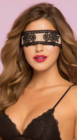 Lace Black and Nude Eye Mask, Nude Eye Mask, Lace Eye Mask